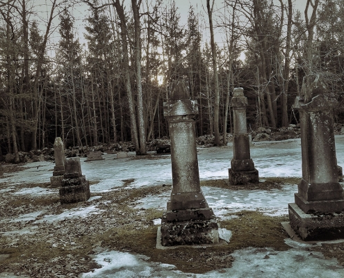 Winter cemetery at dusk