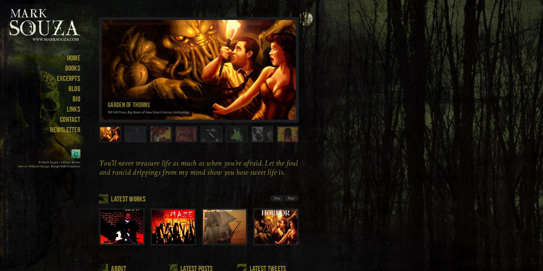 Horror author website design