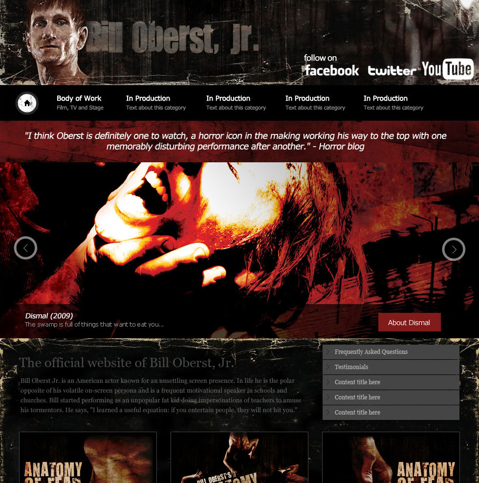 Bill Oberst Jr. horror website design