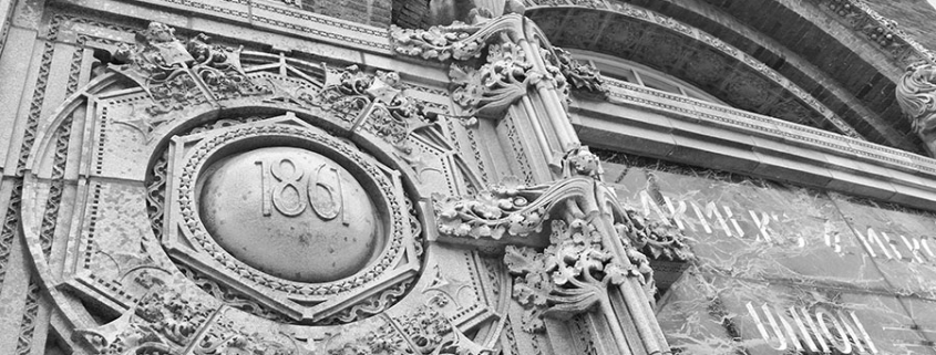 Architectural detail of the Farmers and Merchants bank in downtown Columbus