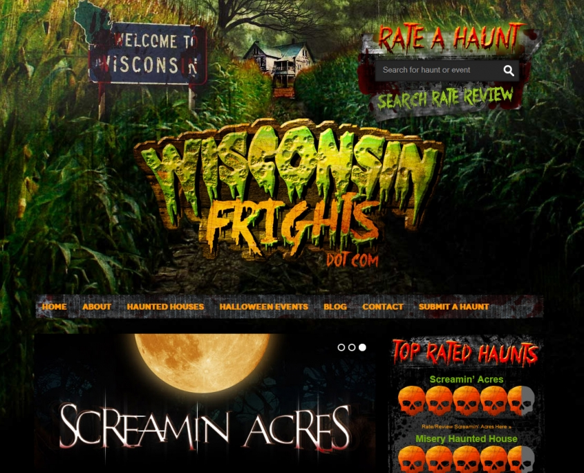 Wisconsin Frights haunted house website design